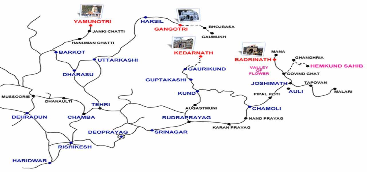 Char Dham Yatra Road Route MapChar Dham Yatra RouteChar Dham Yatra - Map route distance